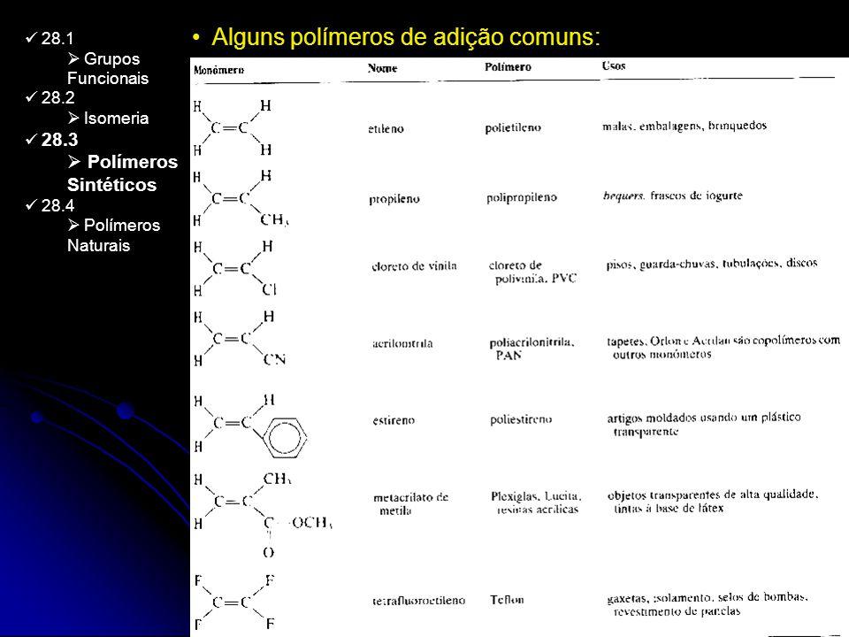 28.1 Grupos Funcionais 28.2 Isomeria 28.3 Polímeros Sintéticos 28.4 Polímeros Naturais Alguns polímeros de adição comuns: