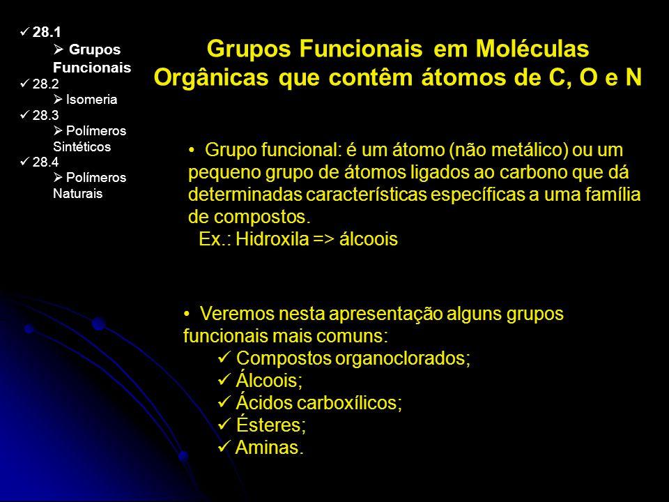 28.1 Grupos Funcionais 28.2 Isomeria 28.3 Polímeros Sintéticos 28.4 Polímeros Naturais Grupos Funcionais em Moléculas Orgânicas que contêm átomos de C