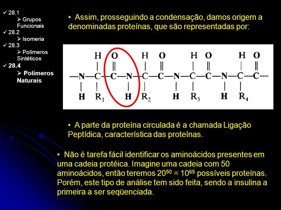 28.1 Grupos Funcionais 28.2 Isomeria 28.3 Polímeros Sintéticos 28.4 Polímeros Naturais Assim, prosseguindo a condensação, damos origem a denominadas p