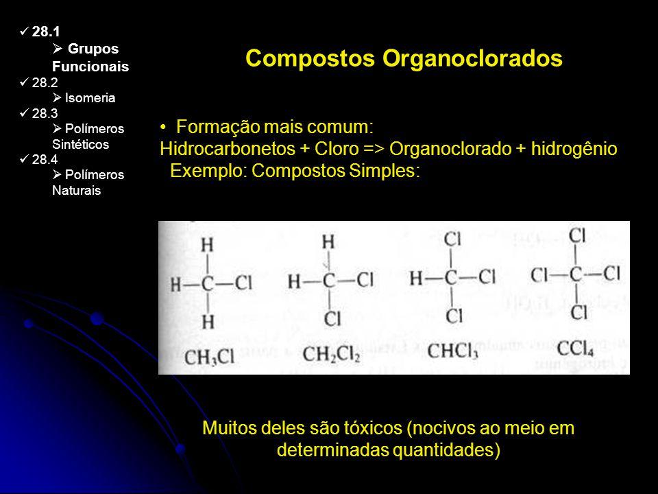 28.1 Grupos Funcionais 28.2 Isomeria 28.3 Polímeros Sintéticos 28.4 Polímeros Naturais Compostos Organoclorados Formação mais comum: Hidrocarbonetos +