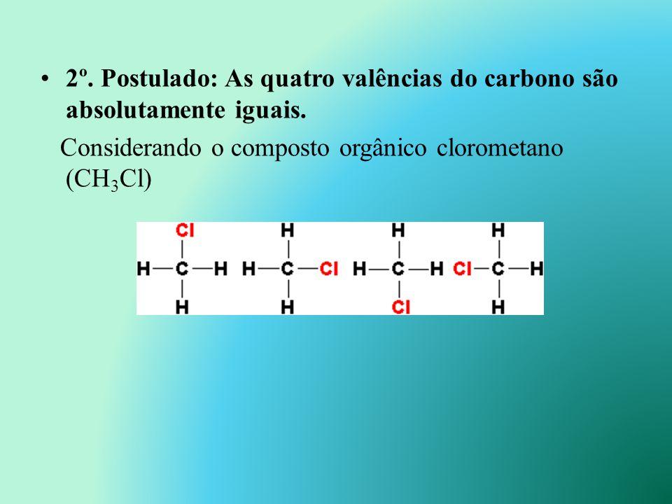 1º. Postulado: O átomo de carbono é tetravalente. Número atômico do carbono é 6, e a configuração eletrônica será: 1s 2 2s 2 2p 2 (K=2, L=4). Comparti