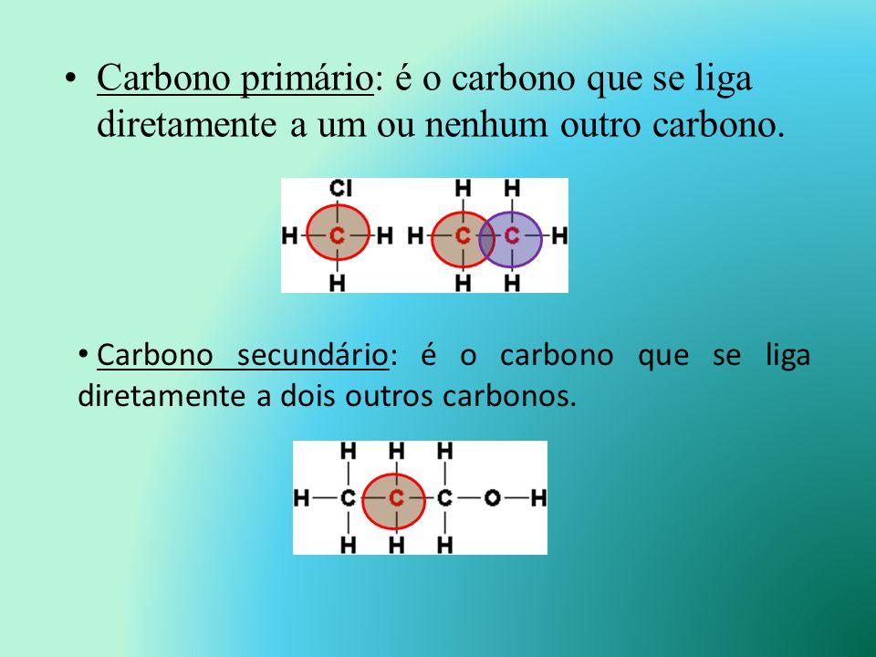 Classificação do átomo de carbono Os átomos de carbono de uma cadeia carbônica podem ser classificados em função do número de outros átomos de carbono