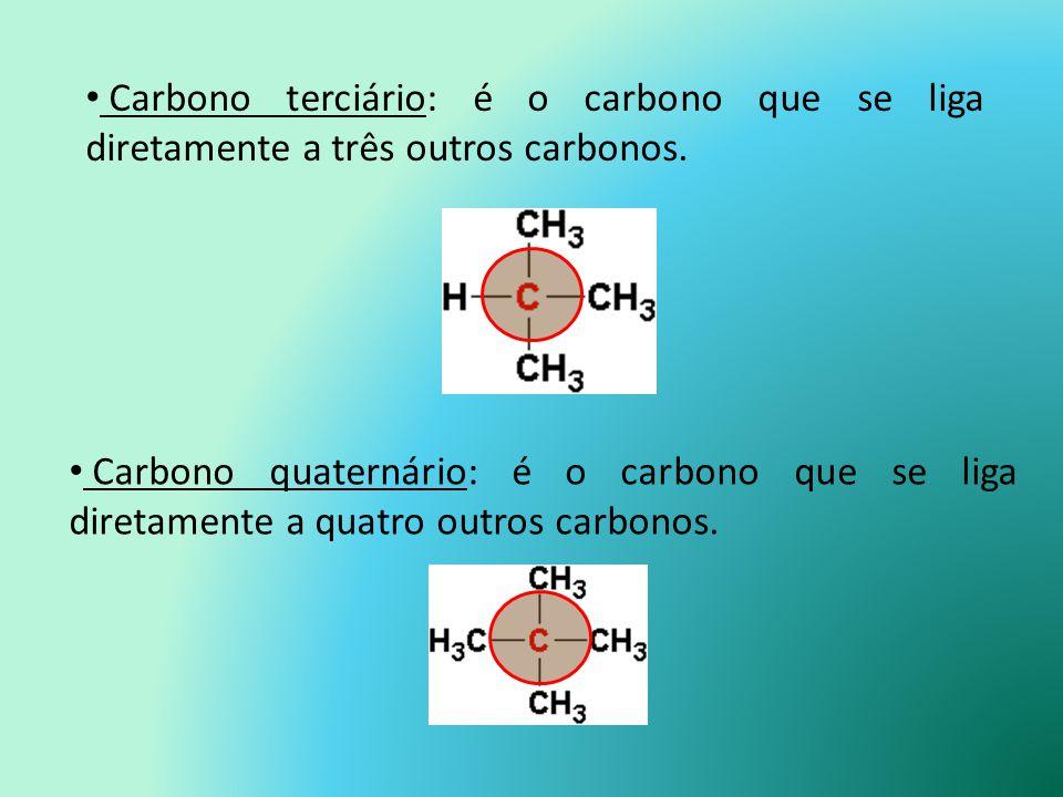 Carbono primário: é o carbono que se liga diretamente a um ou nenhum outro carbono. Carbono secundário: é o carbono que se liga diretamente a dois out