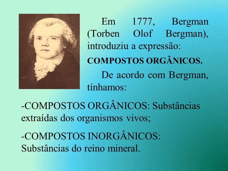 Em 1777, Bergman (Torben Olof Bergman), introduziu a expressão: COMPOSTOS ORGÂNICOS.