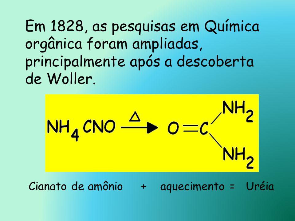 Em 1828, as pesquisas em Química orgânica foram ampliadas, principalmente após a descoberta de Woller.