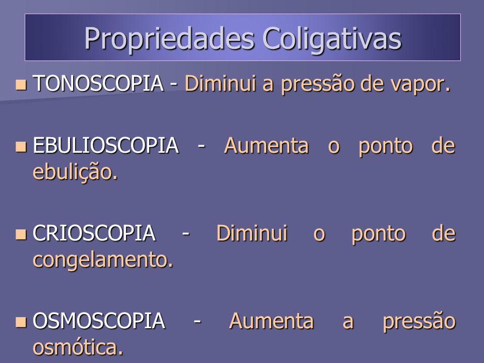 Propriedades Coligativas TONOSCOPIA - Diminui a pressão de vapor. TONOSCOPIA - Diminui a pressão de vapor. EBULIOSCOPIA - Aumenta o ponto de ebulição.