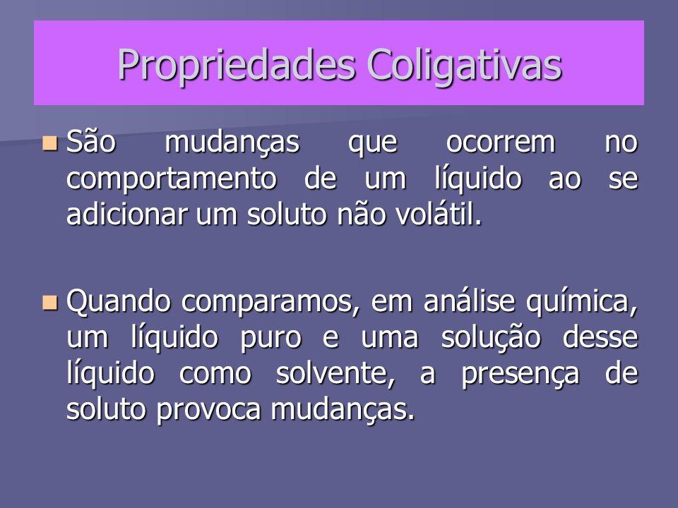 Propriedades Coligativas As propriedades coligativas dependem unicamente do número de entidades dispersas de soluto e não da natureza do mesmo.