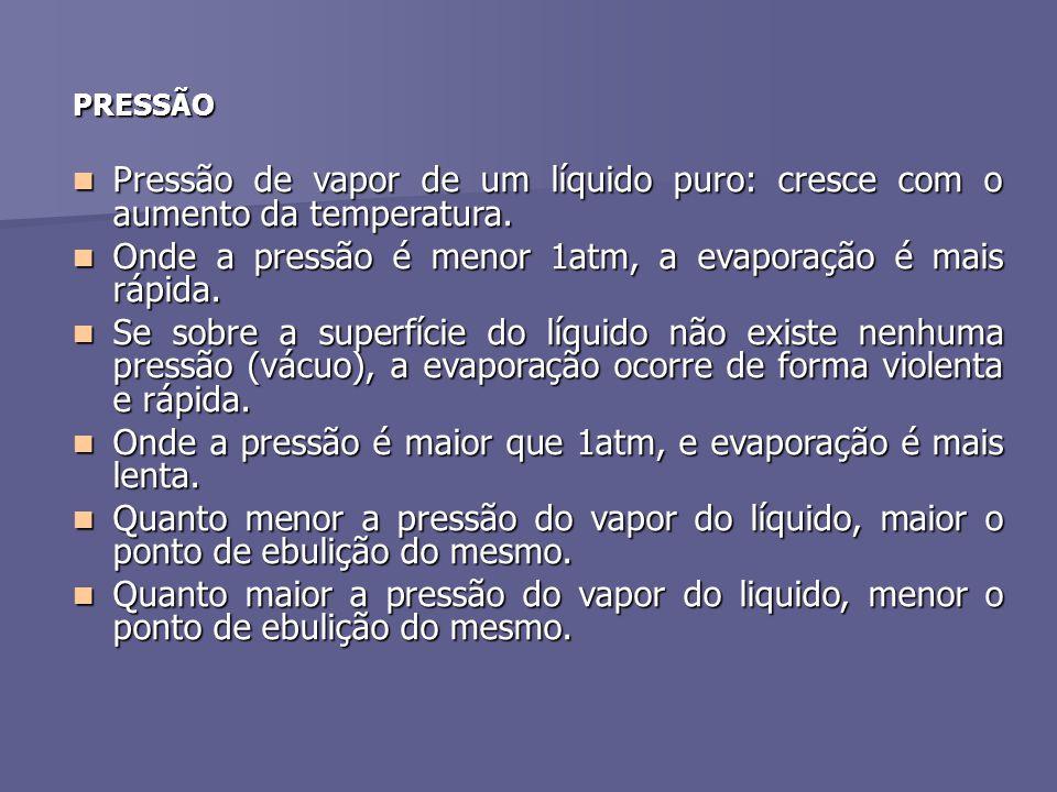 PRESSÃO Pressão de vapor de um líquido puro: cresce com o aumento da temperatura. Onde a pressão é menor 1atm, a evaporação é mais rápida. Se sobre a