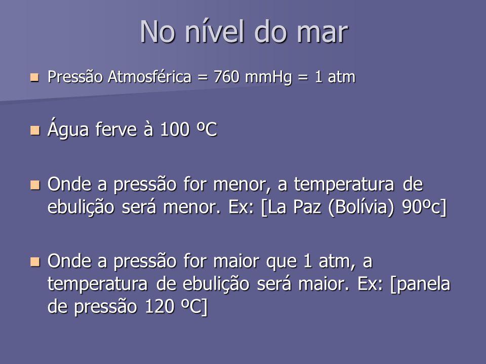 No nível do mar Pressão Atmosférica = 760 mmHg = 1 atm Pressão Atmosférica = 760 mmHg = 1 atm Água ferve à 100 ºC Água ferve à 100 ºC Onde a pressão f