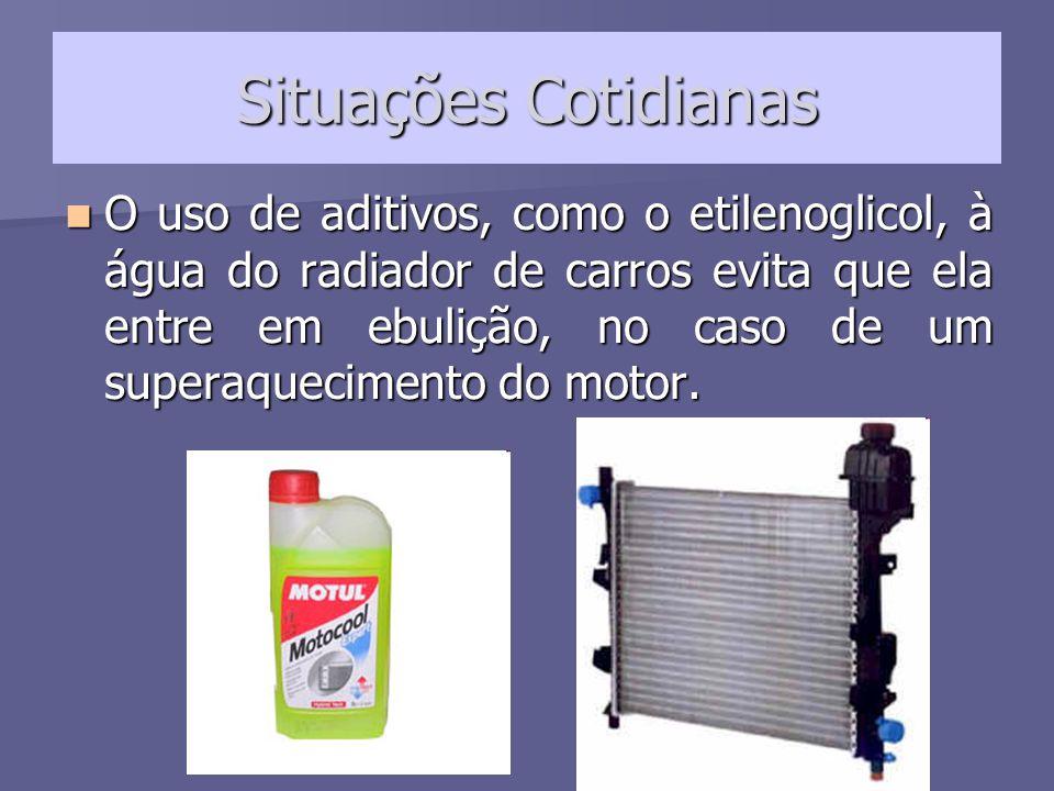 Situações Cotidianas Nos países em que o inverno é rigoroso, esse mesmo aditivo tem o efeito de evitar o congelamento da água do radiador.