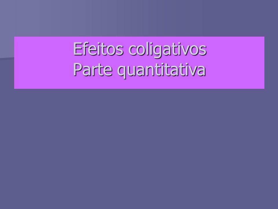 Efeitos coligativos Parte quantitativa