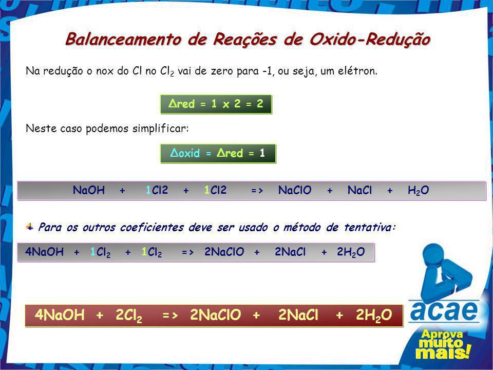 Uma mesma substância contém os átomos que se oxidam e também os que se reduzem Balanceamento de Reações de Oxido-Redução NaOH + Cl 2 => NaClO + NaCl +