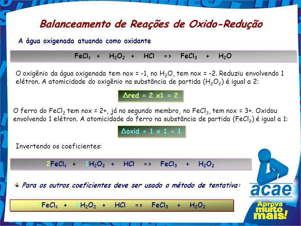 Balanceamento de Reações de Oxido-Redução Na redução o nox do Cl no Cl 2 vai de zero para -1, ou seja, um elétron. Δred = 1 x 2 = 2 Neste caso podemos