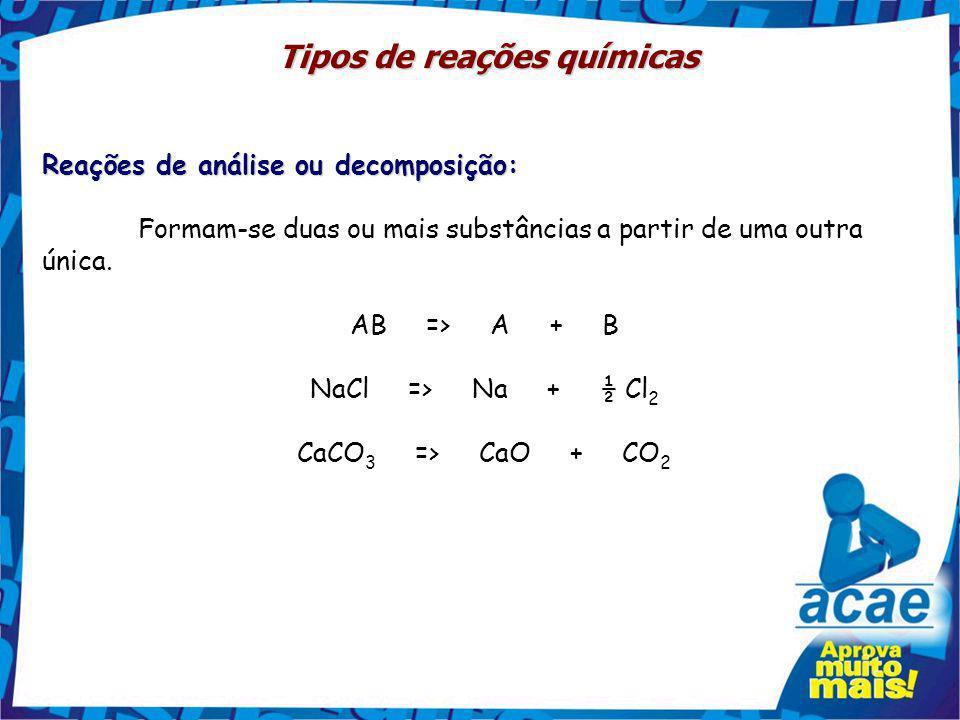 Tipos de reações químicas Reações de Síntese: Duas ou mais substância originam somente uma como produto. A + B => AB H 2 + S => H 2 S C + O 2 => CO 2