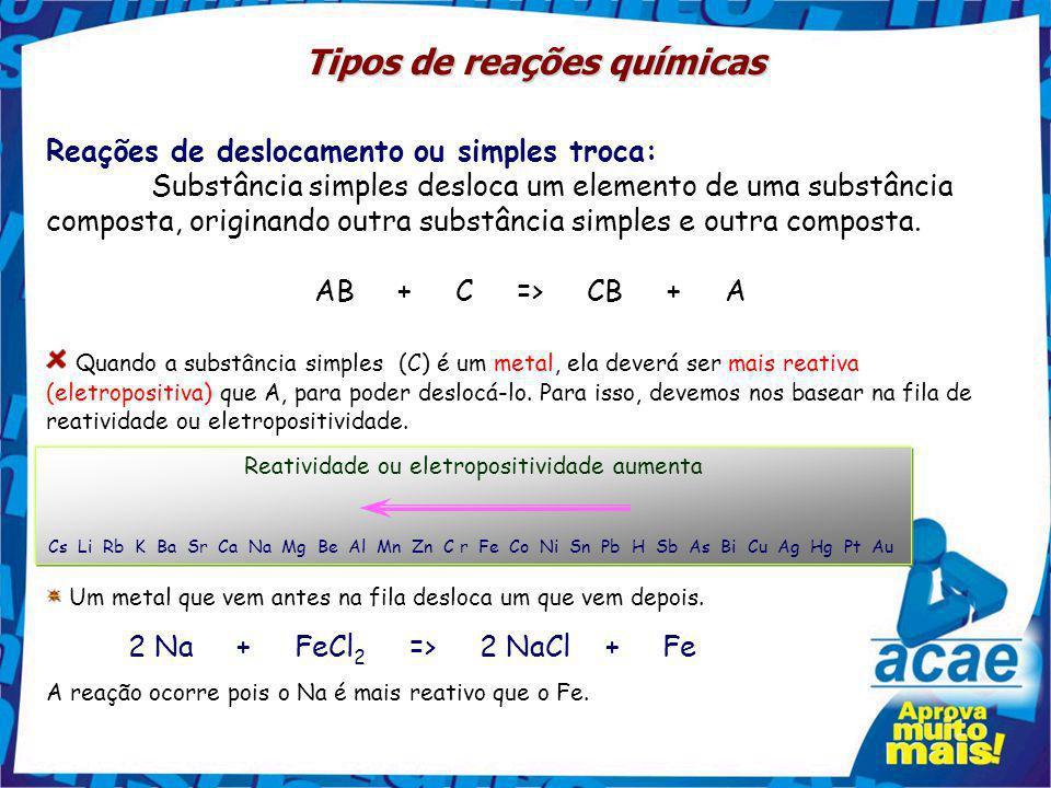 Reações de análise ou decomposição: Formam-se duas ou mais substâncias a partir de uma outra única. AB => A + B NaCl => Na + ½ Cl 2 CaCO 3 => CaO + CO
