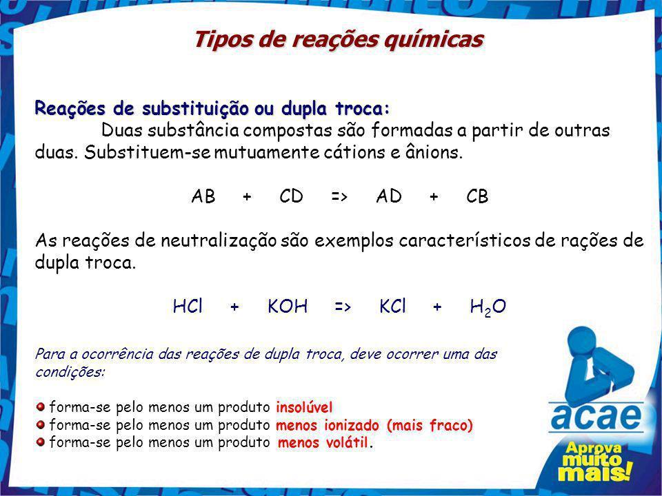 Tipos de reações químicas Reações de substituição ou dupla troca: Duas substância compostas são formadas a partir de outras duas.