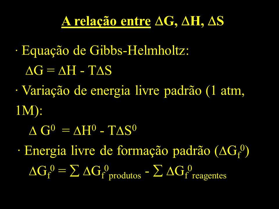 A relação entre G, H, S · Equação de Gibbs-Helmholtz: G = H - T S · Variação de energia livre padrão (1 atm, 1M): G 0 = H 0 - T S 0 · Energia livre de