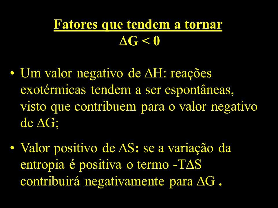 Fatores que tendem a tornar G < 0 Um valor negativo de H: reações exotérmicas tendem a ser espontâneas, visto que contribuem para o valor negativo de