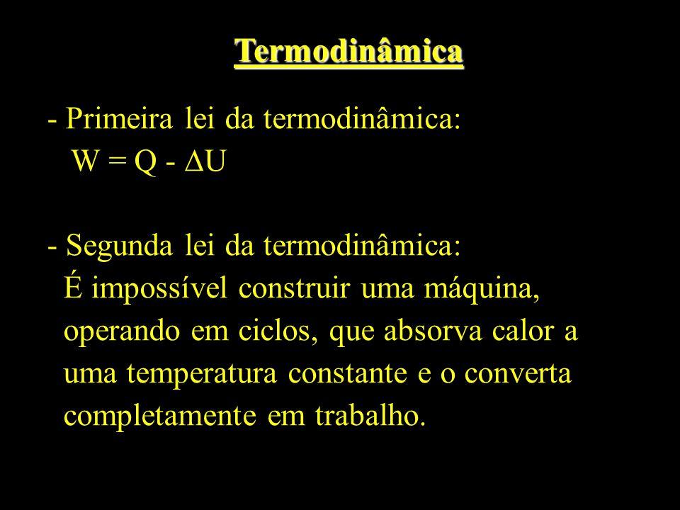 Termodinâmica - Primeira lei da termodinâmica: W = Q - U - Segunda lei da termodinâmica: É impossível construir uma máquina, operando em ciclos, que a