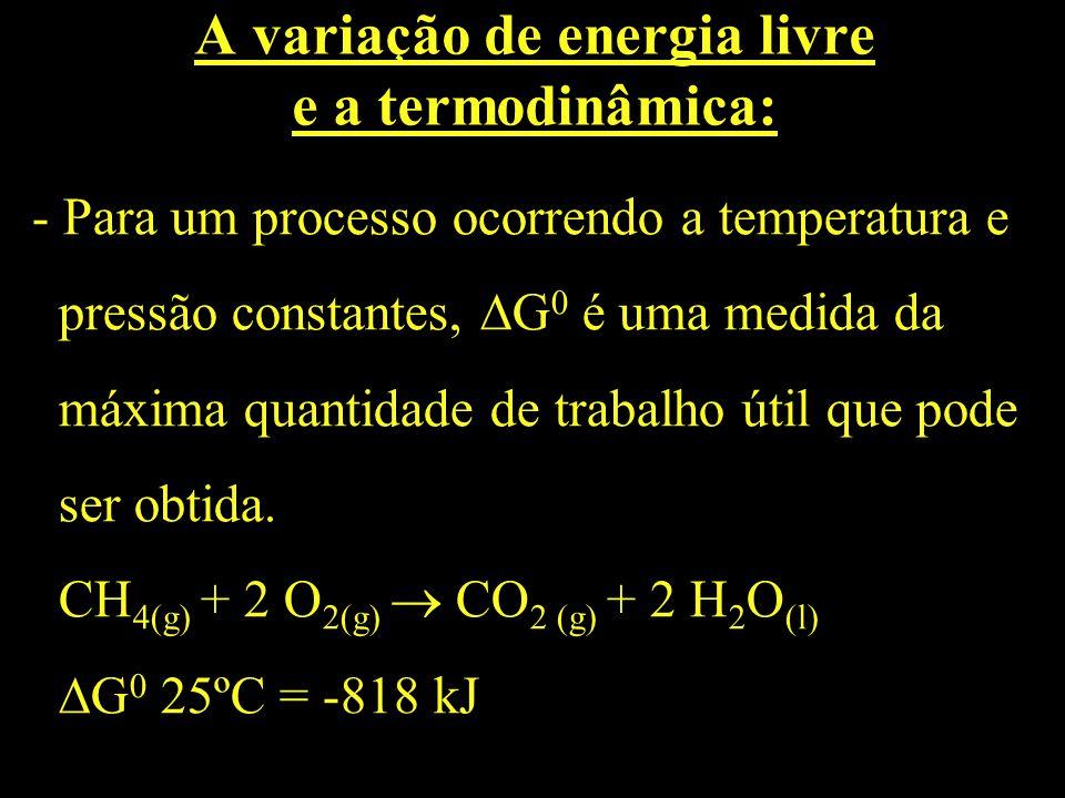 A variação de energia livre e a termodinâmica: - Para um processo ocorrendo a temperatura e pressão constantes, G 0 é uma medida da máxima quantidade
