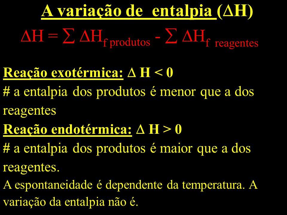A variação de entalpia ( H) H = H f produtos - H f reagentes Reação exotérmica: H 0 # a entalpia dos produtos é maior que a dos reagentes. A espontane