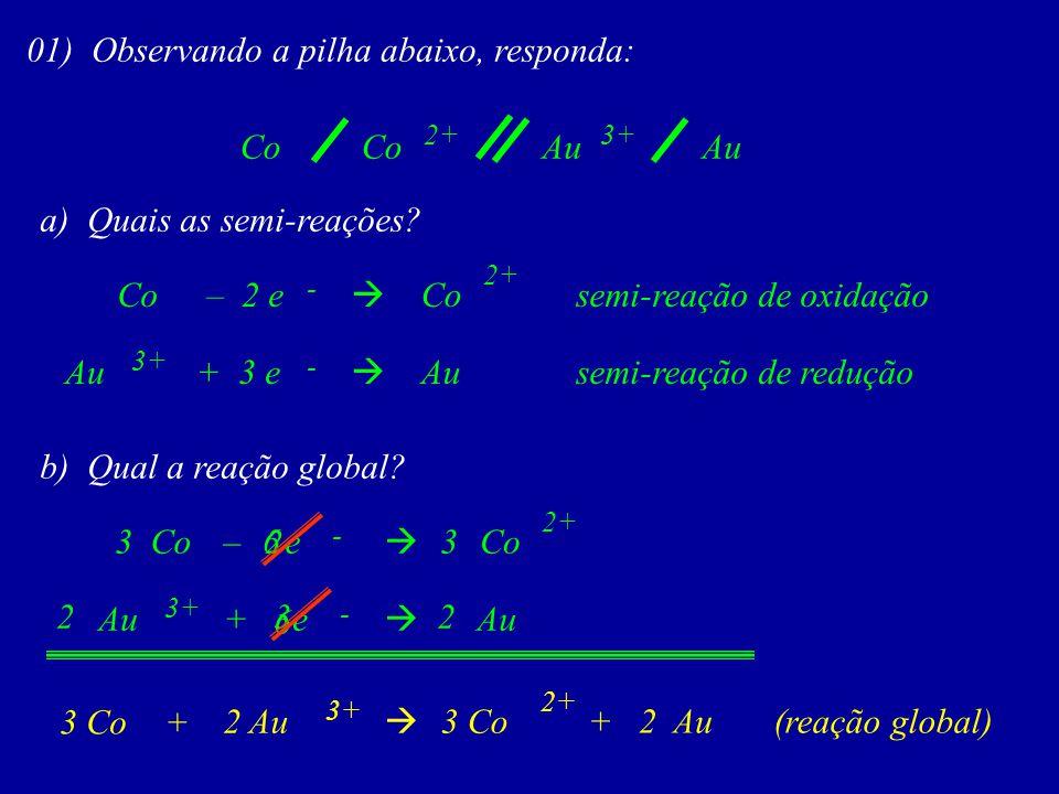 Co 01) Observando a pilha abaixo, responda: a) Quais as semi-reações? Co – 2 e Co 2+ semi-reação de oxidação Au + 3 e Au 3+ semi-reação de redução Co