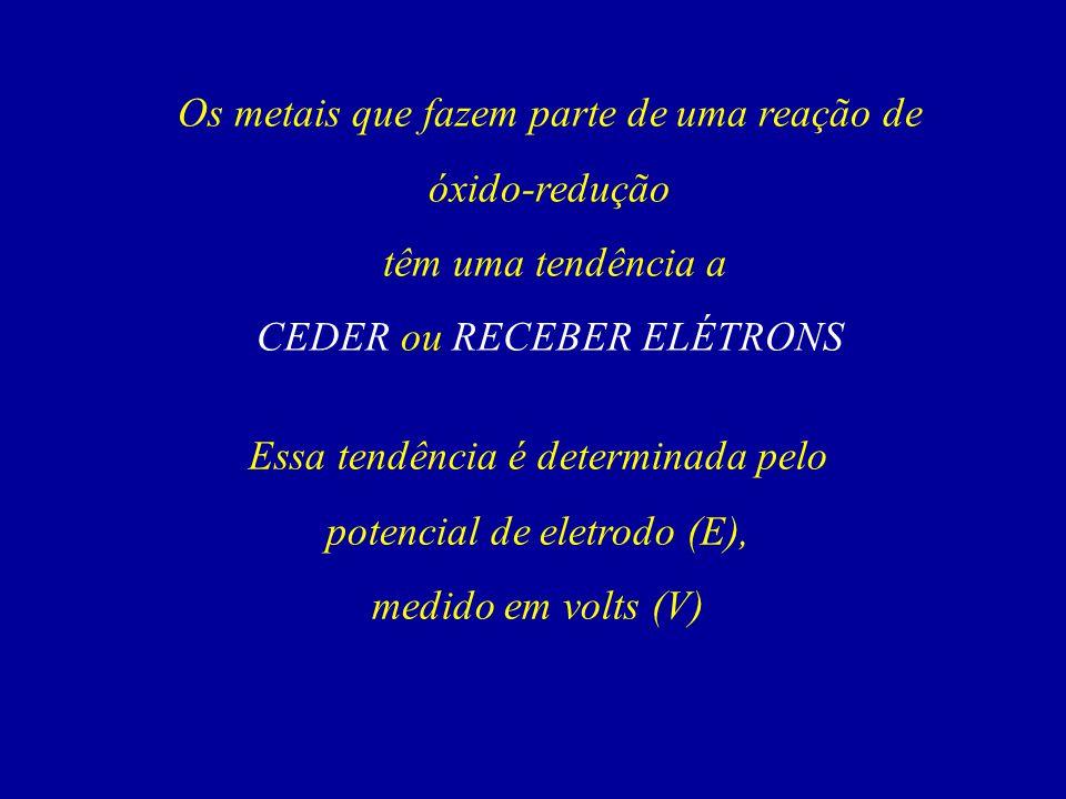 Os metais que fazem parte de uma reação de óxido-redução têm uma tendência a CEDER ou RECEBER ELÉTRONS Essa tendência é determinada pelo potencial de