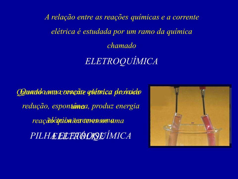 03) As relações existentes entre os fenômenos elétricos e as reações química são estudadas: a) na termoquímica.
