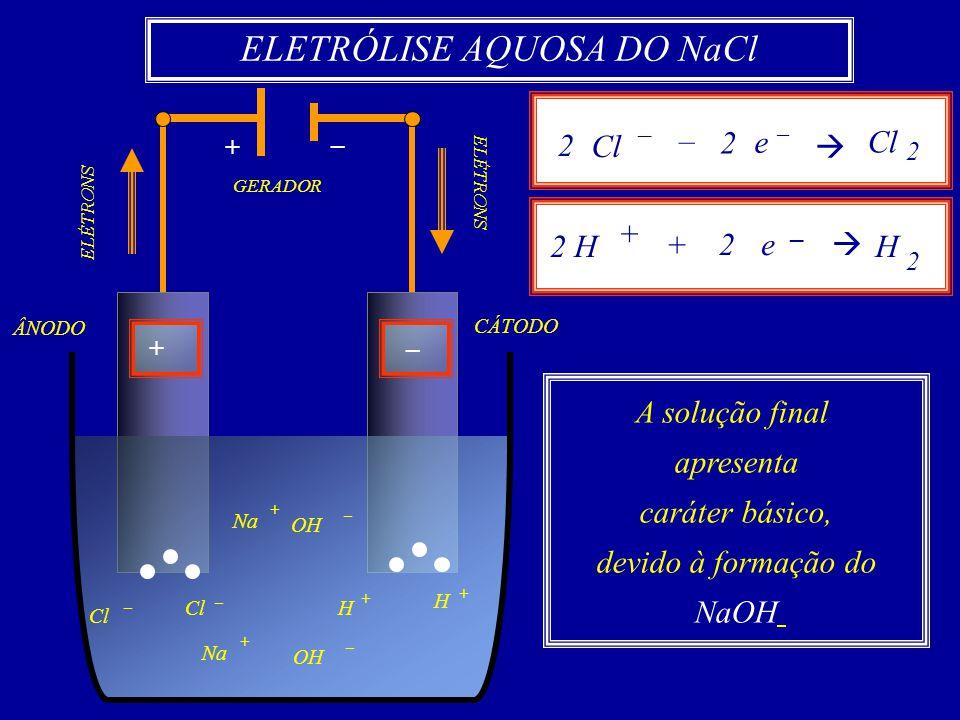 GERADOR ELÉTRONS +– + – CÁTODO OH – Cl Na + – Cl Na OH + – – Cl 2 2 H + H + H + ÂNODO ELETRÓLISE AQUOSA DO NaCl Cl – – e – Cl 2 2 2 2 H + e – 2 H 2 +