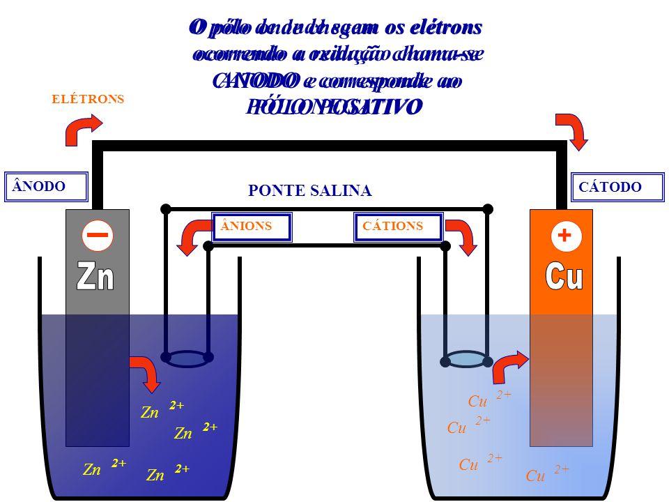 Zn 2+ Zn 2+ Zn 2+ Zn 2+ Cu 2+ Cu 2+ Cu 2+ Cu 2+ ELÉTRONS PONTE SALINA CÁTIONSÂNIONS O pólo de onde saem os elétrons ocorrendo a oxidação chama-se ANOD