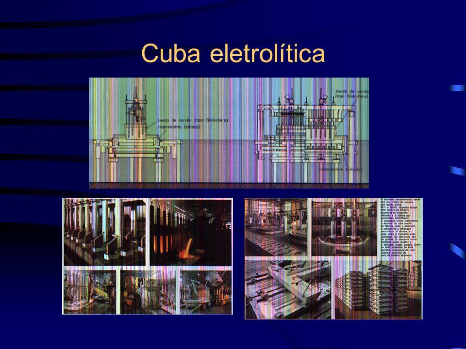 Cuba eletrolítica recipiente de ferro revestido por carvão nas laterais e parte inferior, funcionando como cátodo o ânodo é formado por eletrodo tipo