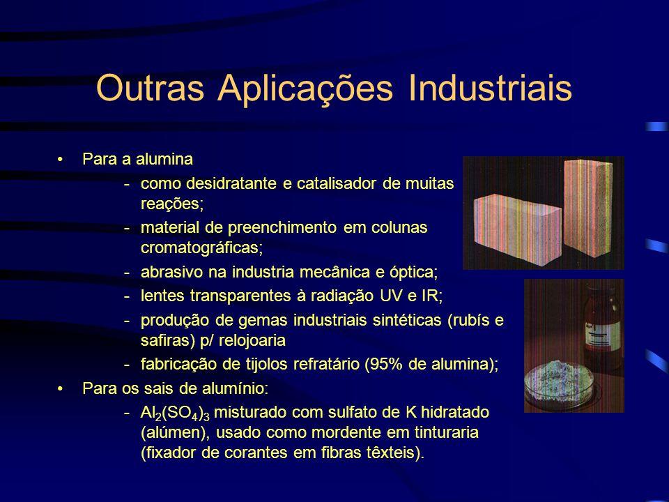 Outras Aplicações Industriais Para o alumínio elementar -condutores aéreos de eletricidade, devido a sua melhor relação condutibilidade/peso que o Cu; -na redução de óxidos de metais (Mg, Cr) devido a sua afinidade com o oxigênio quando finamente divido, reduzindo-os ao seu estado elementar (Reação de Goldschmidt – Aluminotermia); -misturado a óxido de Fe e areia silicosa (termite), com ignição por combustão de fita de magnésio, em operações de soldagem; -nas estruturas internas de reatores nucleares por absorver pouco os neutrons; -nos espelhos refletores de telescópios;