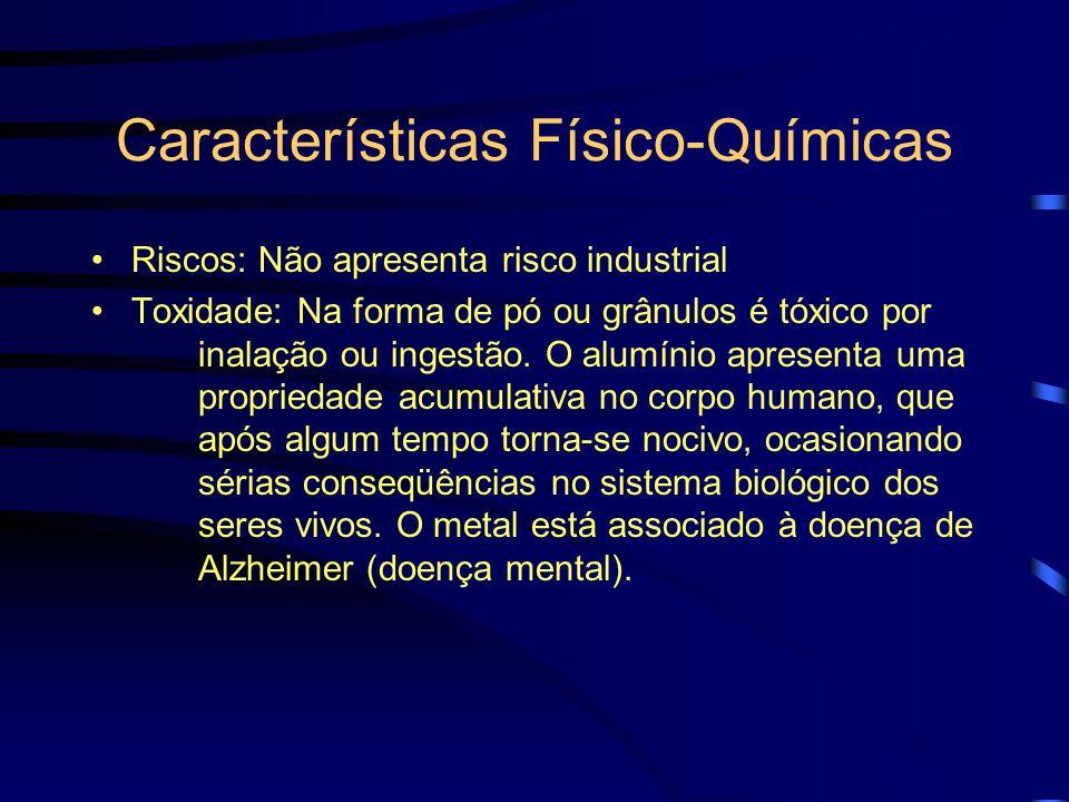 Características Físico-Químicas Riscos: Não apresenta risco industrial Toxidade: Na forma de pó ou grânulos é tóxico por inalação ou ingestão.