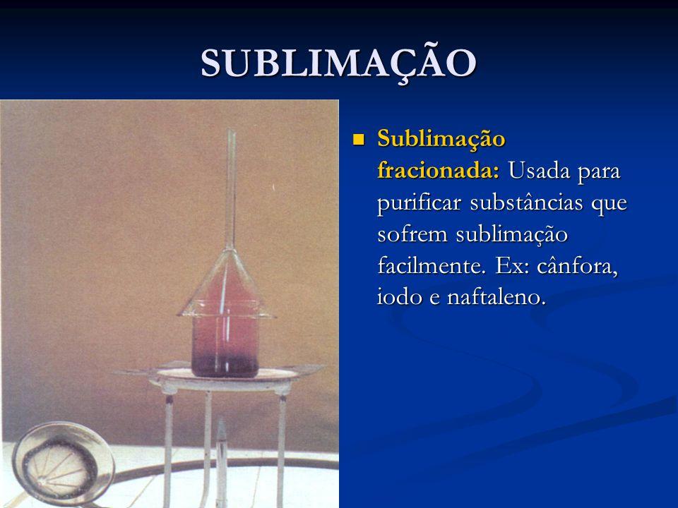 SUBLIMAÇÃO Sublimação fracionada: Usada para purificar substâncias que sofrem sublimação facilmente.