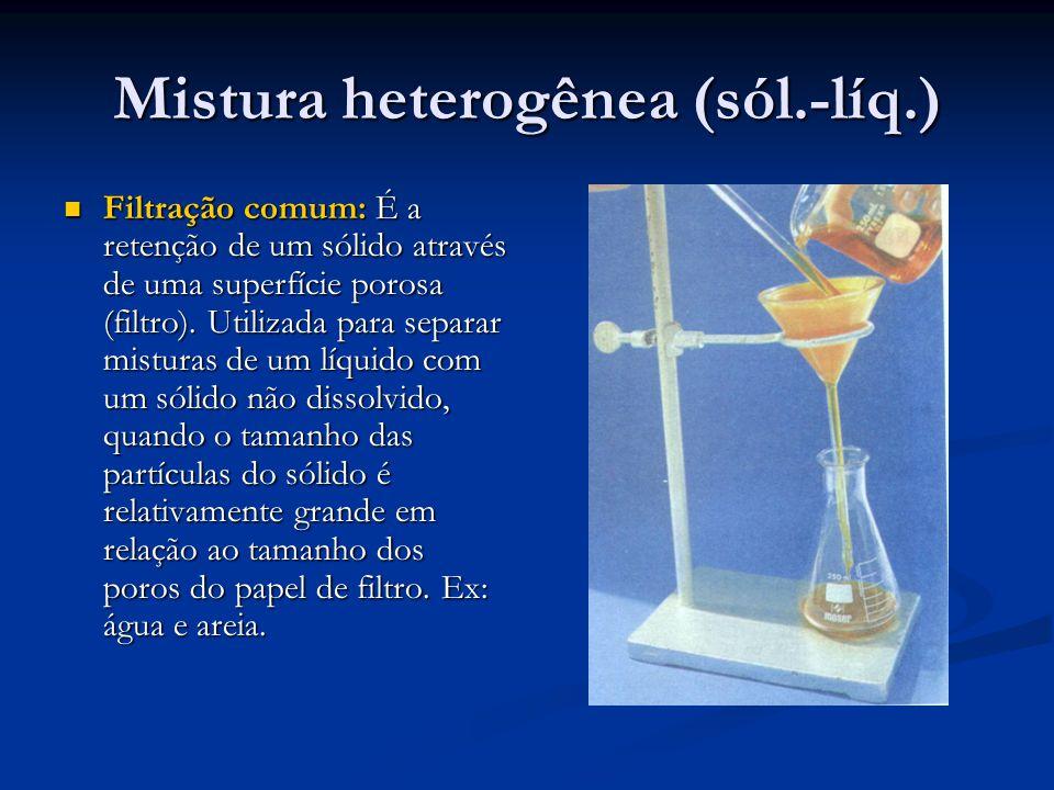 Mistura heterogênea (sól.-líq.) Filtração comum: É a retenção de um sólido através de uma superfície porosa (filtro).