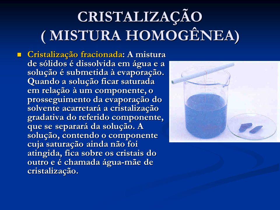 CRISTALIZAÇÃO ( MISTURA HOMOGÊNEA) Cristalização fracionada: A mistura de sólidos é dissolvida em água e a solução é submetida à evaporação.