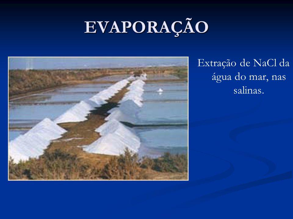 EVAPORAÇÃO Extração de NaCl da água do mar, nas salinas.