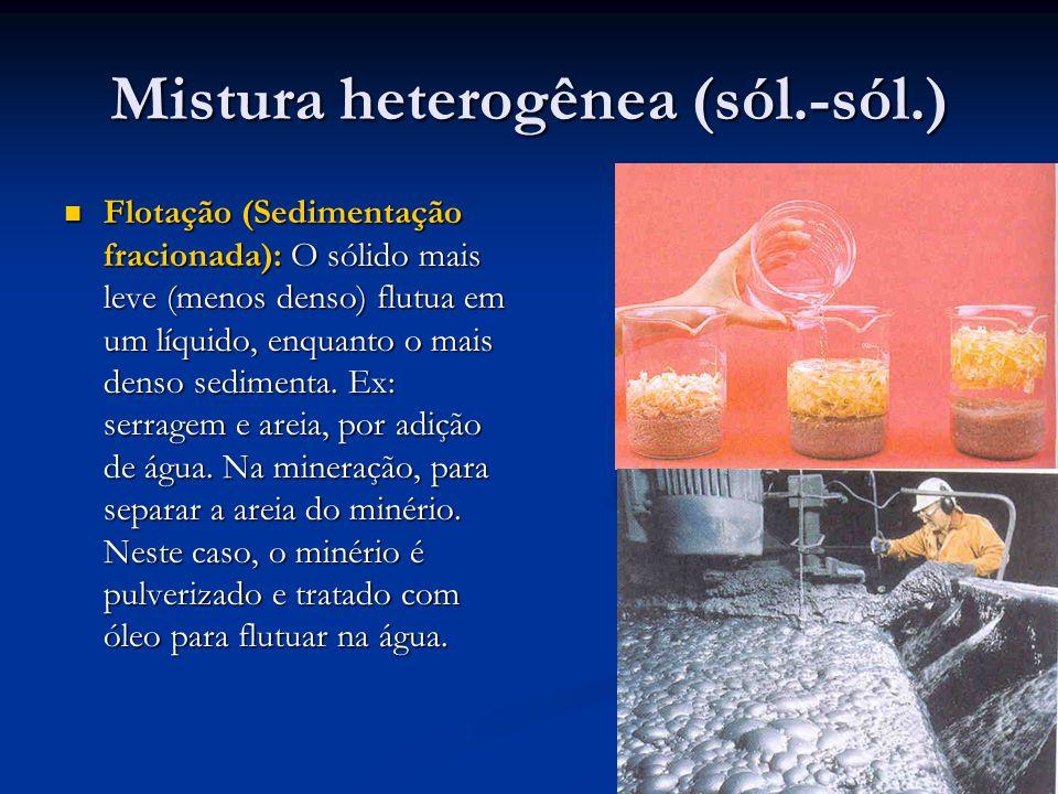Mistura heterogênea (sól.-sól.) Flotação (Sedimentação fracionada): O sólido mais leve (menos denso) flutua em um líquido, enquanto o mais denso sedimenta.