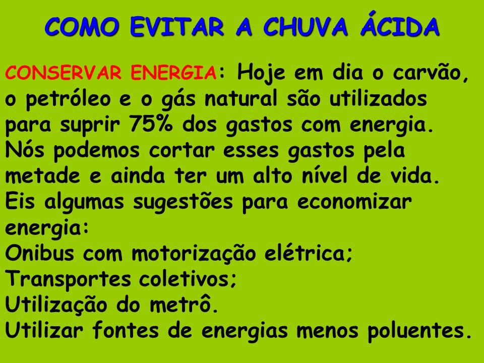 COMO EVITAR A CHUVA ÁCIDA CONSERVAR ENERGIA : Hoje em dia o carvão, o petróleo e o gás natural são utilizados para suprir 75% dos gastos com energia.