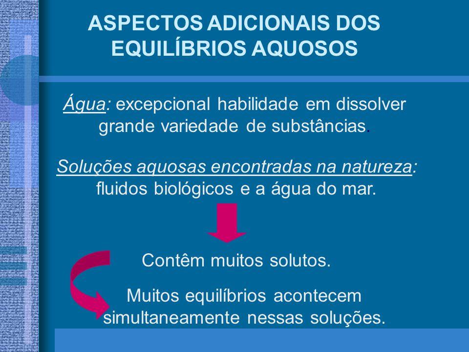 ASPECTOS ADICIONAIS DOS EQUILÍBRIOS AQUOSOS Água: excepcional habilidade em dissolver grande variedade de substâncias. Soluções aquosas encontradas na