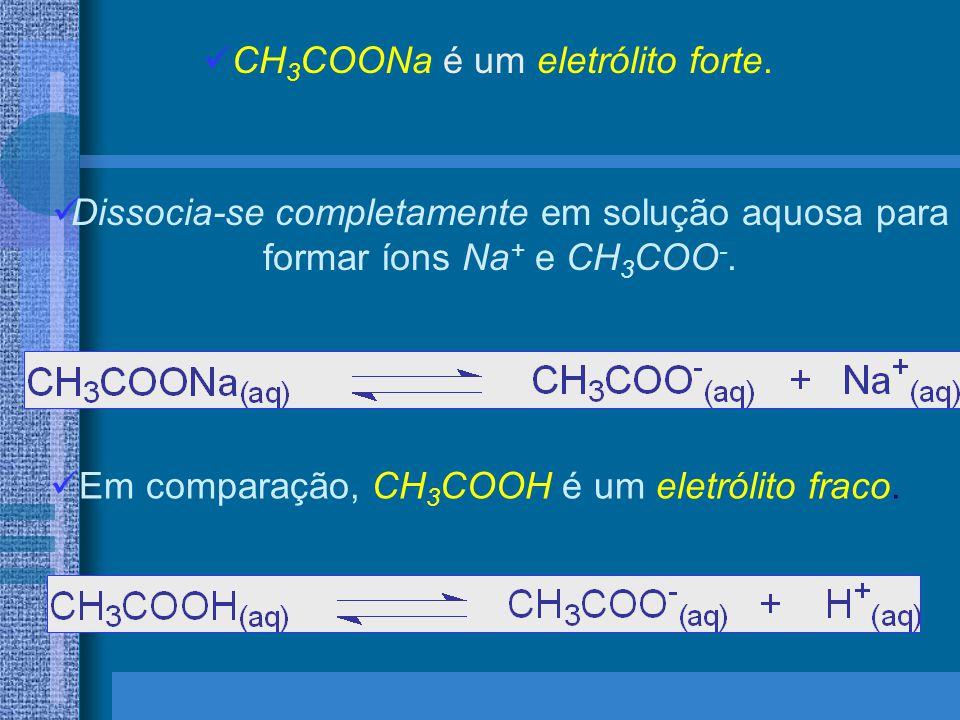 CH 3 COONa é um eletrólito forte. Dissocia-se completamente em solução aquosa para formar íons Na + e CH 3 COO -. Em comparação, CH 3 COOH é um eletró