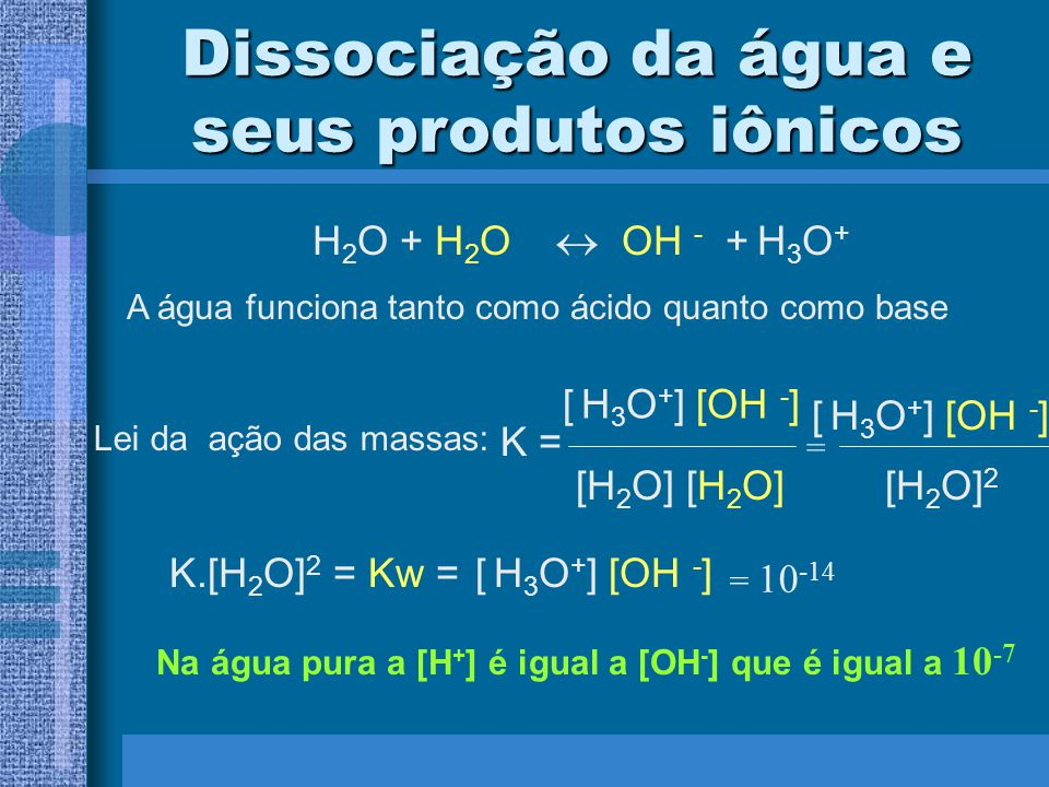 Dissociação da água e seus produtos iônicos H 2 O + H 2 O OH - + H 3 O + A água funciona tanto como ácido quanto como base Lei da ação das massas: K =