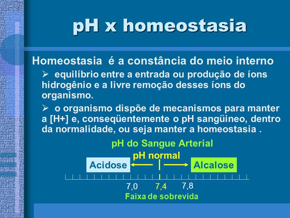 Homeostasia é a constância do meio interno pH x homeostasia equilíbrio entre a entrada ou produção de íons hidrogênio e a livre remoção desses íons do organismo.