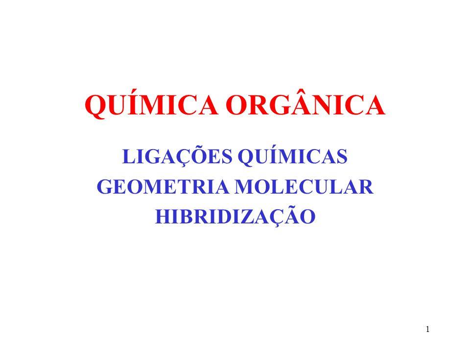 1 QUÍMICA ORGÂNICA LIGAÇÕES QUÍMICAS GEOMETRIA MOLECULAR HIBRIDIZAÇÃO