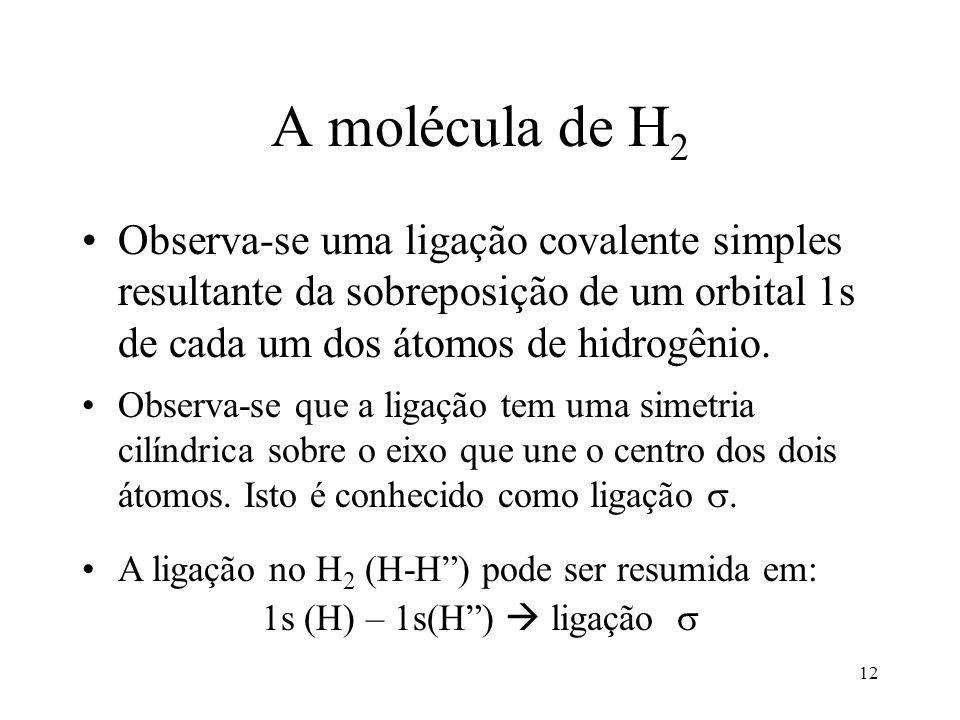 12 A molécula de H 2 Observa-se uma ligação covalente simples resultante da sobreposição de um orbital 1s de cada um dos átomos de hidrogênio.