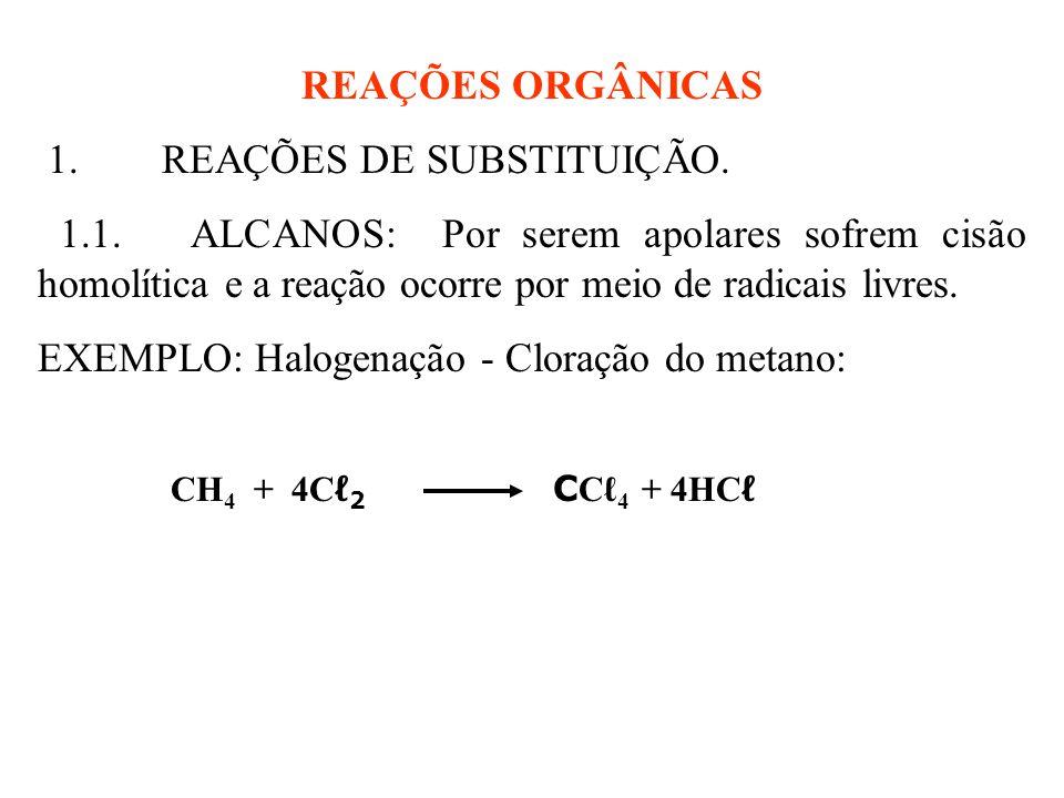 REAÇÕES ORGÂNICAS 1.REAÇÕES DE SUBSTITUIÇÃO. 1.1.