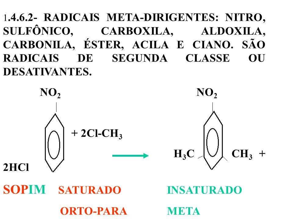 1.4.6.2- RADICAIS META-DIRIGENTES: NITRO, SULFÔNICO, CARBOXILA, ALDOXILA, CARBONILA, ÉSTER, ACILA E CIANO.