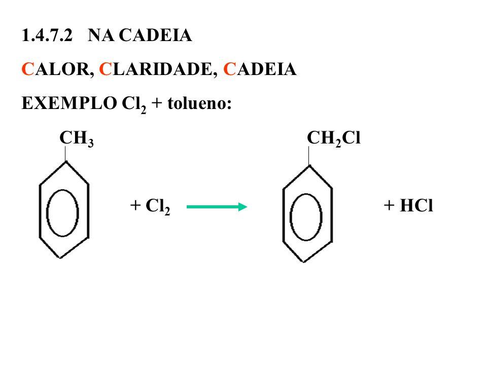 1.4.7.2 NA CADEIA CALOR, CLARIDADE, CADEIA EXEMPLO Cl 2 + tolueno: CH 3 CH 2 Cl + Cl 2 + HCl