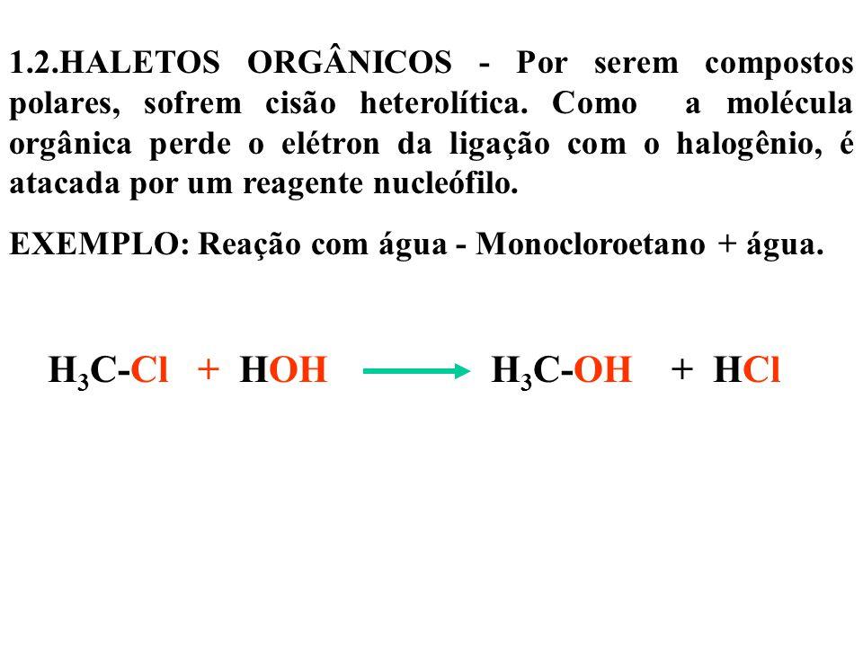 1.2.HALETOS ORGÂNICOS - Por serem compostos polares, sofrem cisão heterolítica.