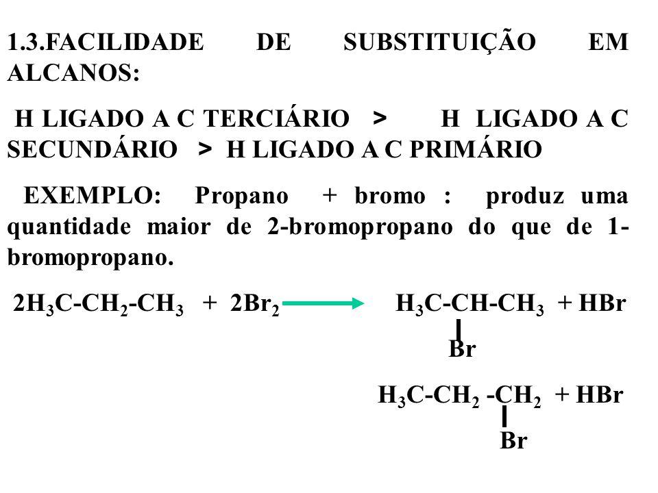 1.3.FACILIDADE DE SUBSTITUIÇÃO EM ALCANOS: H LIGADO A C TERCIÁRIO > H LIGADO A C SECUNDÁRIO > H LIGADO A C PRIMÁRIO EXEMPLO: Propano + bromo : produz uma quantidade maior de 2-bromopropano do que de 1- bromopropano.